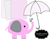 Nursery Mini Pack -pink gray-  Digital Paper Sheets 8.5 by 11 and Clip Art - Instant Download