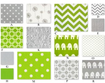 Lime Green and Gray Custom Crib Baby Bedding YOU DESIGN - Bright Forest Collection