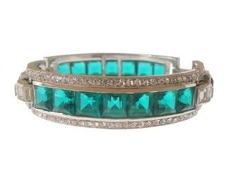 Art Deco Bracelet, Emerald Vintage KTF Trifari Rhinestone Designer Bangle, 1930s Fine Antique Statement Deco Jewelry, Wedding Jewellery