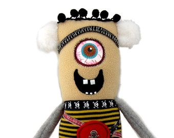 Walter - a handmade cyclops monster rag doll