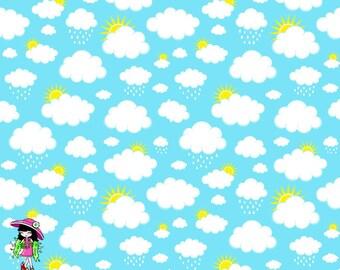 Aqua clouds 1/2 yard knit cotton lycra