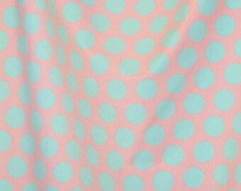 Knit baby pink and aqua dots 1 yard