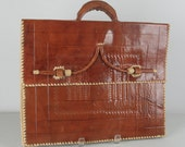 Vintage 70s Handtooled Briefcase by Star Jerryson in leather whipstitched unisex
