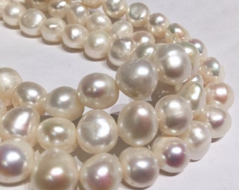 Freshwater pearl Corn Pearl Ivory White pearl 9-10mm 16'' full strand 40 pieces New Arrival SALE #BA4103
