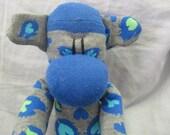 Sockimamy Skyler the LONG blue, gray leopard print sock monkey, hand stitched, retro monkey, bright colors, plushie, baby safe, nursery gift