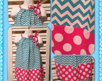 SALE Pillowcase Dress Chevron Turquoise and pink polka dots with fabric bow