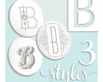 Embroidery Pattern Modern Monograms Letter B hand embroidery patterns in three styles Alphabet Letter embroidery designs by SeptemberHouse