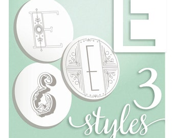 Modern Monograms Letter E hand embroidery patterns in three styles Alphabet Letter embroidery designs by SeptemberHouse