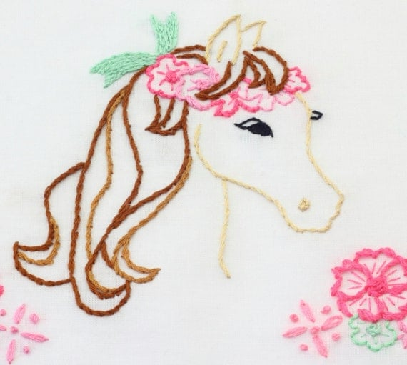 Horse embroidery pattern design