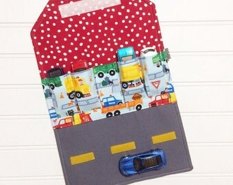 Car Wallet - Holds 5 of your childs favorite cars - Emergency Vehicals