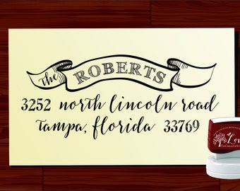 Custom ADDRESS STAMP  - Personalized Self Inking stamp -  vintage banner - Style 1169