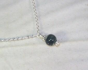 Gemstone Birthstone Necklace - Sterling Silver Filled Necklace - Bloodstone Shown