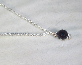 Gemstone Birthstone Necklace - Sterling Silver Filled Necklace - Faceted Black Tourmaline Shown