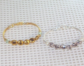 Newborn Name & Birthstone Bracelet - Silver or Gold -Newborn, Toddler, Child, Baby Bracelet, Keepsake