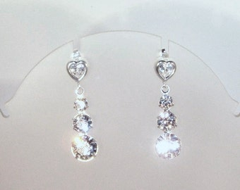 Swarovski Crystal & Cubic Zirconia Hearts Bridal Earrings - MADE TO ORDER in Any Color