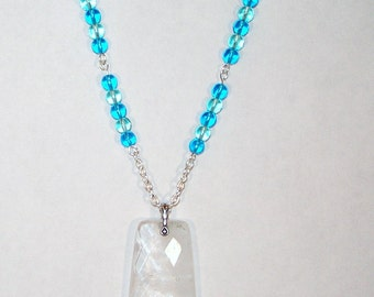 Rock Quartz Trapazoid Necklace