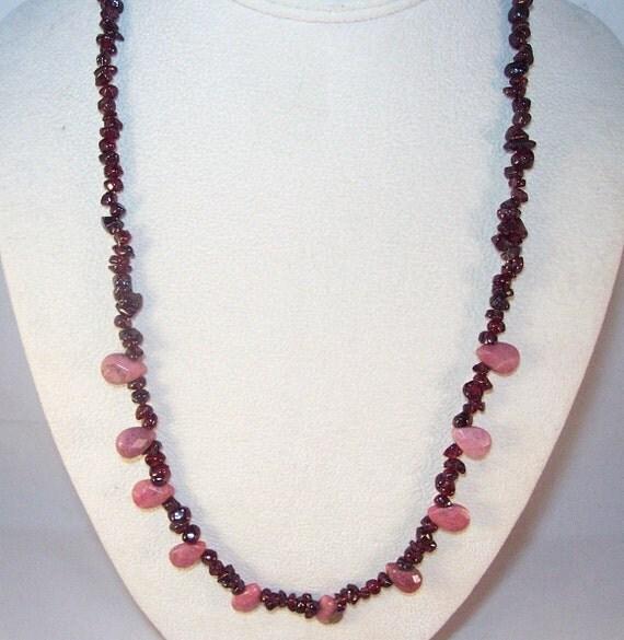 gemstone jewelry rhodonite and garnet necklace