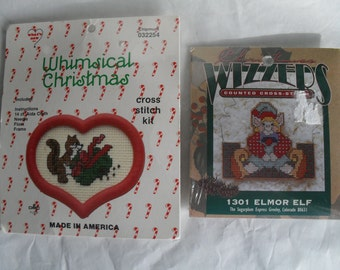 2 Christmas Ornaments to Cross Stitch Kit Elf Squirrel Wreath