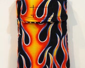 Cell Phone Case, Flame gadget pouch, glasses case, Fire print, velcro pouch