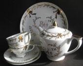 Lefton Handpainted China Tea Set 50th Wedding Anniversary
