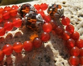 Carnelian Mala - Prayer Beads - Buddhist  Rosary - red