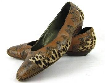 Vintage Italian Pony / Snake Skin Ballet Flates, Donna Carolina, Sz 8 / 9