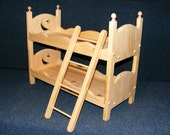 Wooden Doll Bunk Bed and Ladder Set with Moon and Star Cut Outs