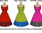 GORGEOUS color... 1950s Vintage Style Dress... your Colors...your Measurements...