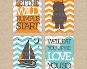 Wild Things 4 Print Art Set, Where the Wild Things Are Prints // Nursery / Kids Art Prints // N-G19-4PS AA1