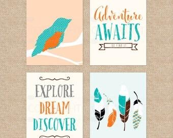 Bird Nursery Wall Art, Adventure Awaits Theme, Nursery Decor, Peah and Teal Nursery Prints, Gift, Art Print or Canvas /N-XW13-4PS AA1 06S