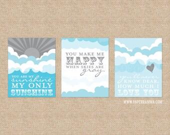 You Are My Sunshine Lyrics, Blue and Gray, Art Prints for Nursery or Kids Room // Set of 3 Giclée Art Prints // N-G03-3PS AA1