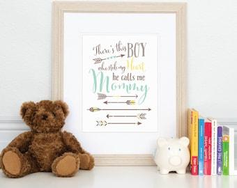 Arrow Nursery Decor, Boy Who Stole My Heart, Baby Boy Nursery Art, Kids Playroom Art // Choose Art Print or Canvas //  N-XW05-1PS AA1
