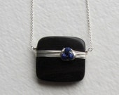 Tiger Ebony Wood and Lapis Lazuli Gemstone Necklace - Wooden Jewelry - Handmade Jewelry - Sterling Silver Necklace - Gift for Her