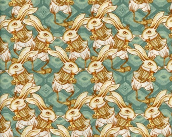 Tina Givens Fabric Bunny Rabbit in Teal from the Riddles and Rhymes Collection  1/2 Yard