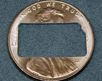 Lucky penny with Kansas cut out