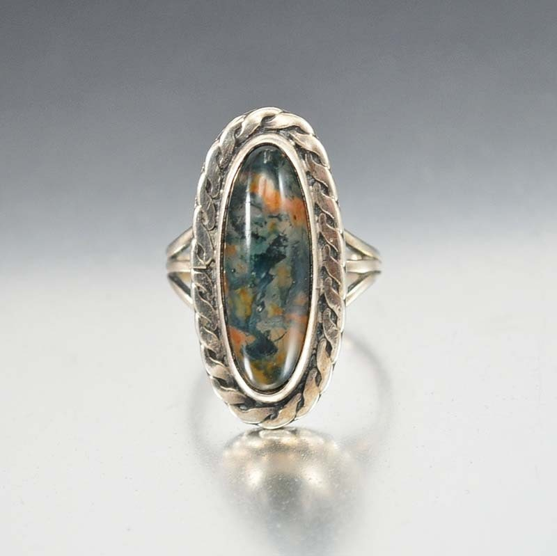 Vintage Navajo Ring Dendritic Agate Sterling Silver Moss Agate