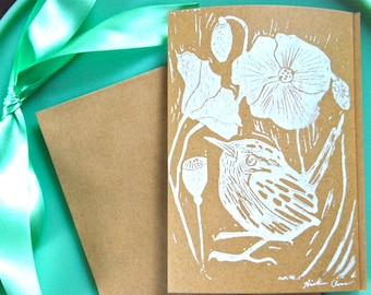 """Hand Carved and Printed Linoleum Block Cards, Wren with Poppies, 5""""x7"""""""