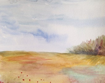 """Watercolor Painting, Original Fine Art, Landscape, 9""""x12"""""""