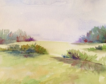 """Watercolor Painting, Original Art, Landscape Painting, 9""""x12"""""""