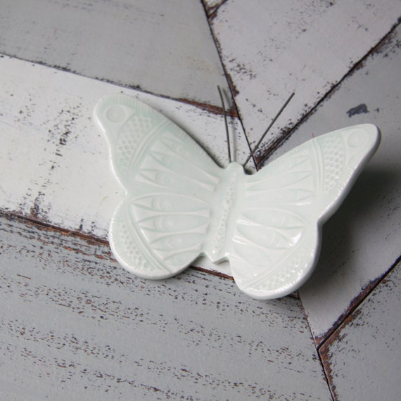 pale blue porcelain wall butterfly