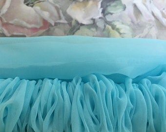 Paris Aqua Blue Organza Sheer Chandelier Chain Cover - Cord Cover - Curtain Rod Cover - Shabby Chic Decor