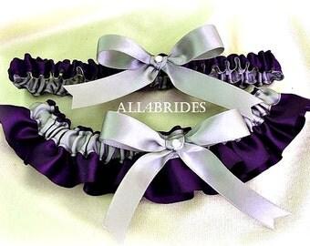 Bridal Garters Lapis Deep Purple and Grey Wedding, Weddings Bridal Keepsake Toss and Garter Set