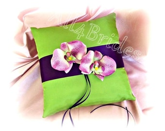 Wedding Ring Pillow - Deep Purple Plum and Green - Orchids Wedding Ring Bearer Pillow -  Ceremony Accessories Decor