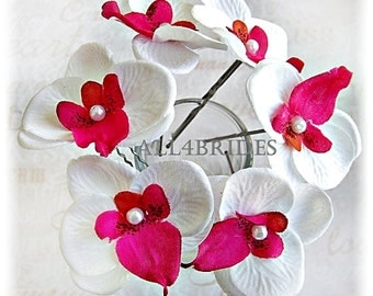 White and fuchsia pink orchid flower hair pins, bridal or bridesmaids wedding hair accessories