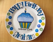 Happy Birthday Plates . Hand Painted Personalized Gifts . First Birthday Gift for Boy