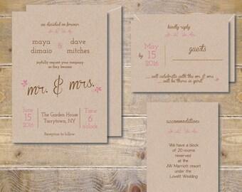 Printable Wedding Invitations . DIY Wedding Invitations . Invitation File . Recycled Wedding Invitations .  PDF  - Mr & Mrs