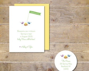 Pregnancy Announcements, Expecting Baby Cards, Pregnancy Announcement, Baby Annoucement, Spring  - Happy Spring