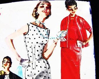 1950s Dress Pattern, Misses size 12, Womens Below Knee, Bateau Neckline, Sleeveless Sheath Dress with Jacket, Vintage Sewing Pattern
