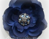 Navy and Antique Blue Artificial Flower with Organza Custom Navy and Clear Acrylic Rhinestone Center