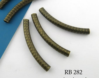 35mm Antique Brass Curved Tube Bead Bronze Noodle Bead Pattern (RB 282) 5 pcs BlueEchoBeads